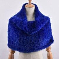 Real Mink Fur Shawls and Scarves Leisure Women Winter Scarf New Elastic Shawls Solid Elegent Genuine Knitted Fur Shawl