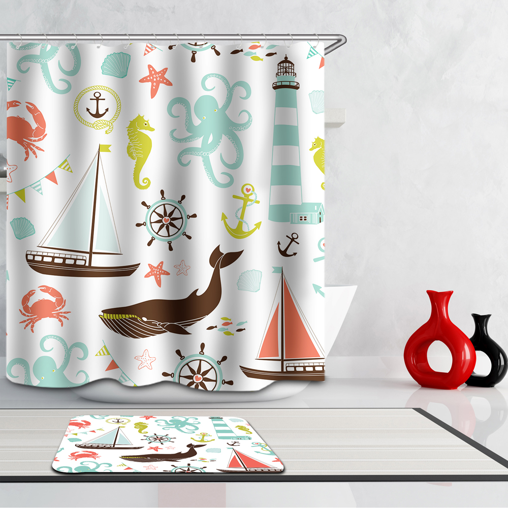 Homing Colorful Summer Sea Joyful Animal Fish Pattern Waterproof Shower Curtain Kids Polyester Bath Curtain Cozy Bathroom Supply