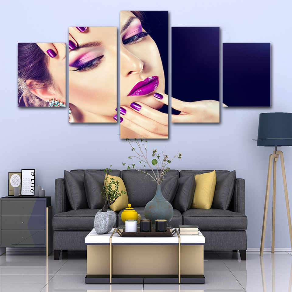 Canvas Wall Art Poster 5 Pieces Hairdressing Salon Paintings Printed Manicure Beauty Salon Make Up Pictures Modular Home Decor