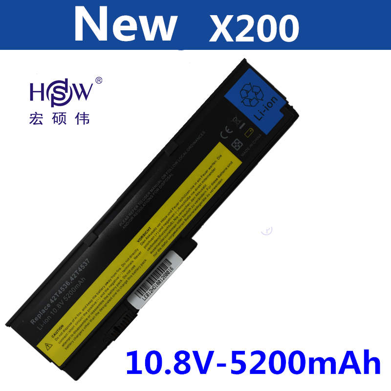 купить HSW 5200mAh Battery For IBM ThinkPad X200 X200S X201 X201i X201S 42T4834 42T4835 43R9254 42T4537 42T4541 42T4536 42T4538 bateria онлайн