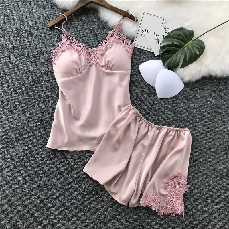 Lace Silk Satin Cami & Shorts Pajama Set Women Pink Spaghetti Strap Sexy Summer Sleepwear Floral Embroidery Pyjamas