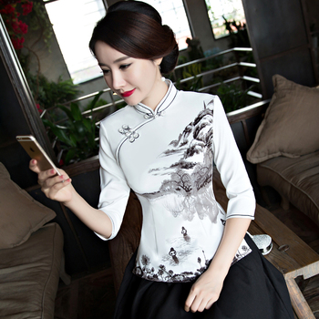 cd92b0e22 vestido Mandarin XXXL corto tamaño chino dama ropa moda Qipao camisa Collar  verano cheongsam S 2018 estilo ...