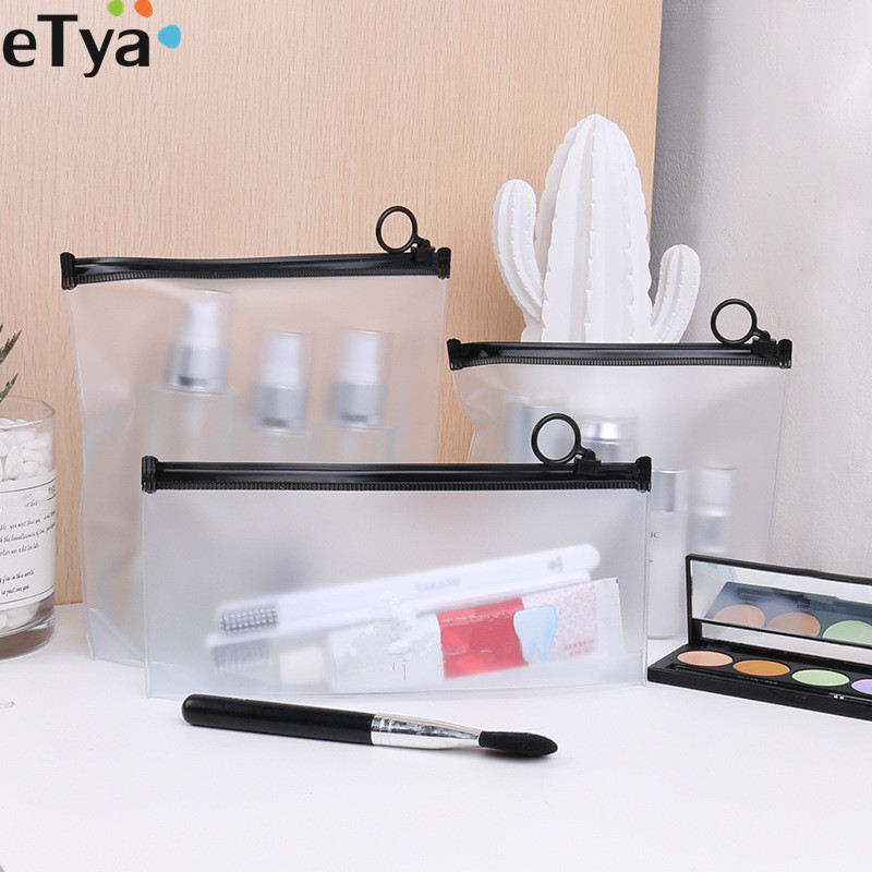 ETya 2019 Transparent PVC Cosmetic Bag Waterproof Women Travel Clear Neceser Beautician Makeup Bag Toiletry Wash Pouch Case