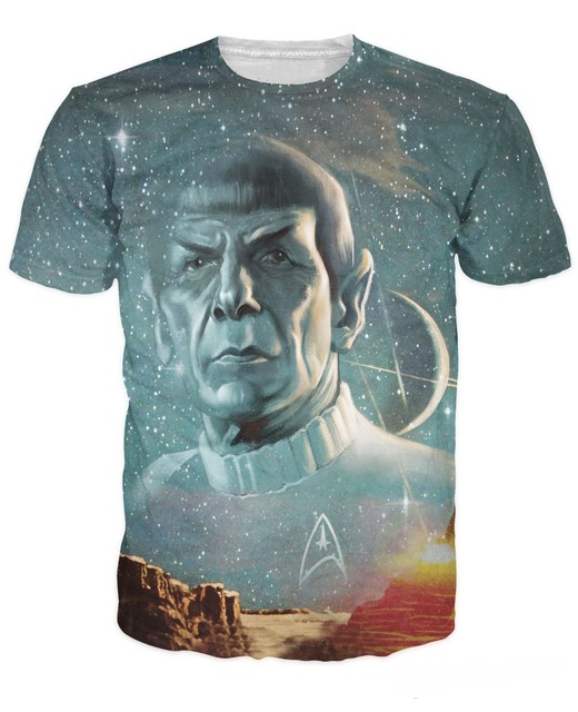 Summer Style tops Live Long and Prosper T-Shirt Star Trek Spock galaxy tee sexy t shirt for women men plus size free shipping
