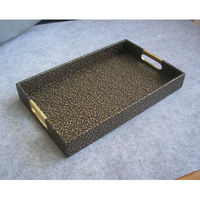 40x25cm rectangle leather serving storage decorative tray fruit food tray embossed gold over black 297C