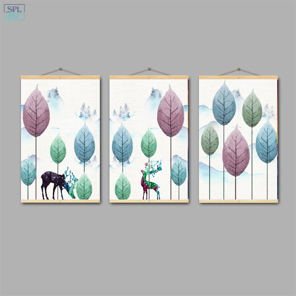 SPLSPL Modern Minimalist Hand Drawn Forest Green Leaves Wall Art Picture Elk Animal Canvas Print Poster Painting Framed