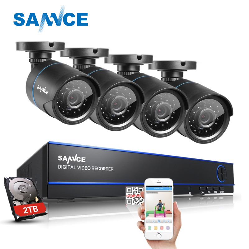 SANNCE 16CH HD 1080N DVR 4 PCS 720P IR Outdoor Video Surveillance Security Camera System 16 Channel DVR Kit With 2 TB HDD sannce 4 channel 720p dvr cctv camera system 2pcs 1200tvl 720p ir outdoor security camera system surveillance kit 1tb hdd