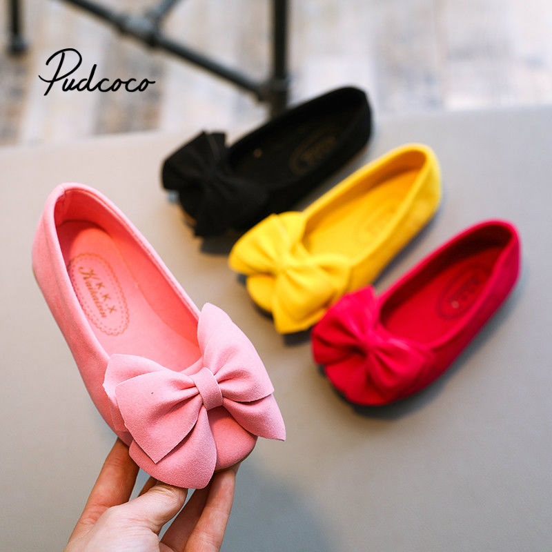 2019 Spring and Summer new candy color Girls princess shoes Girls sandals flat non-slip casual shoes bow dance shoes