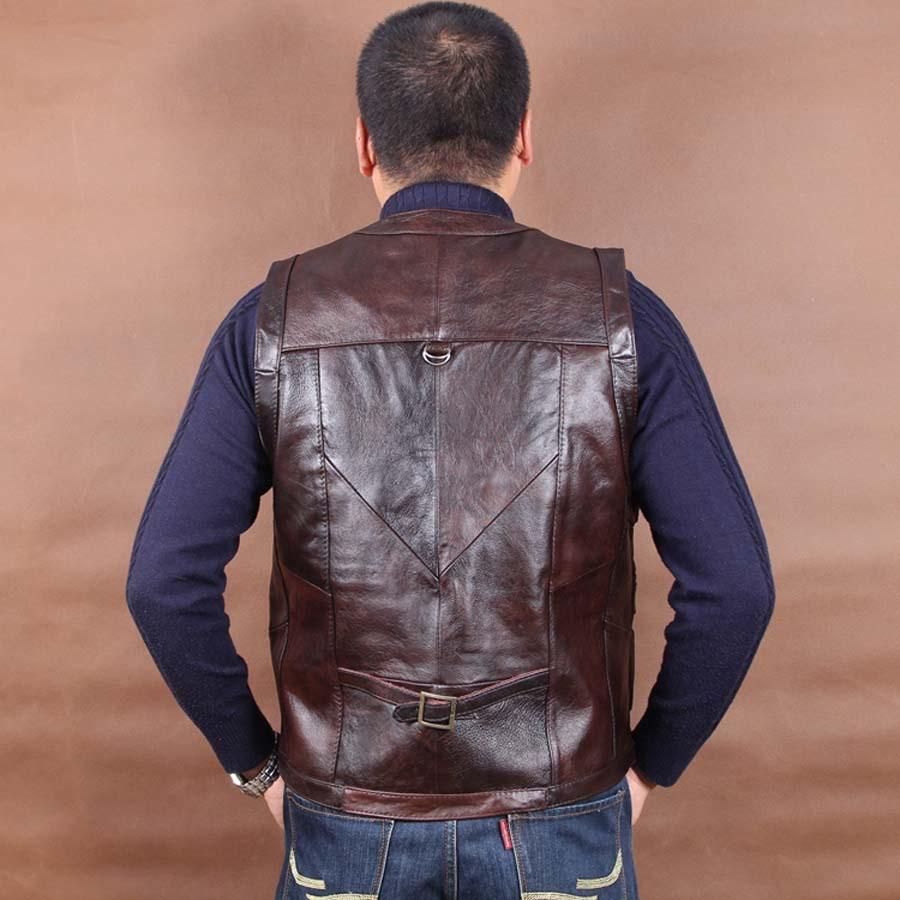 Erkek Kıyafeti'ten Jileler ve Yelekler'de Yeni Varış Hakiki Deri Yelek Erkek Kolsuz Ceketler Cepler Yelekler Yelek Sonbahar Kış Koyu Kahverengi L 6XL'da  Grup 2