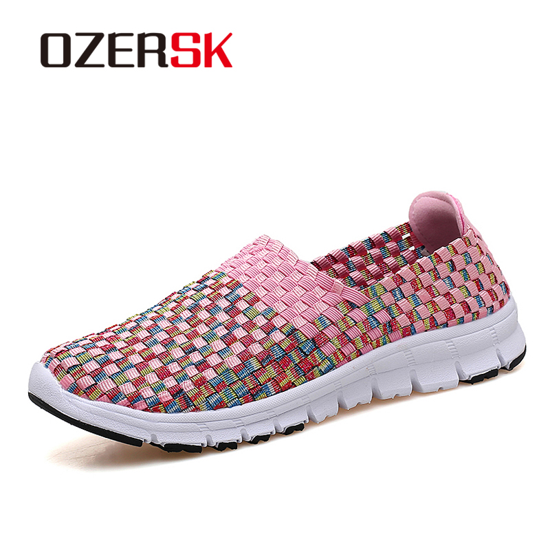OZERSK New Arrival Summer Shoes Women loafers Ladies Slip on Flats Comfortable Woven Driving Shoes Handmade Women Shoes цена