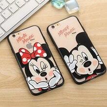 Cute cartoon mickey minnie case For iphone 7 8 6 6s for women girl Hard PC coque capinha transparente Case