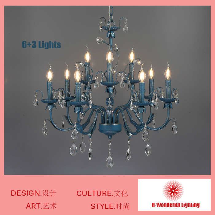 6+3 Lights Tranditional Blue American Mediterranean Art Iron Chandelier Crystal Retro Personality Chandelier Free Shipping vintage clothing store personalized art chandelier chandelier edison the heavenly maids scatter blossoms tiny cages