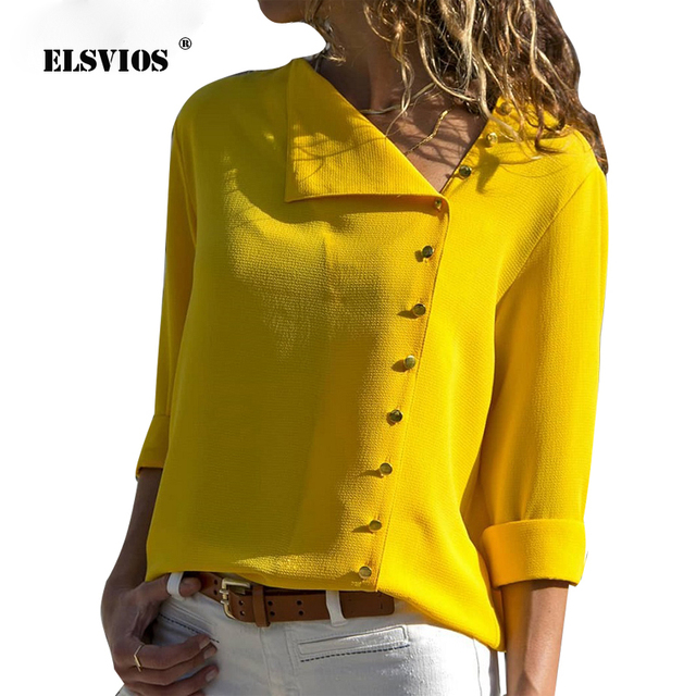 ELSVIOS Buttons Turn-down Collar Irregular Blouse Women Long Sleeve Elegant Office Ladies Workwear Shirt Female Solid Tops Blusa