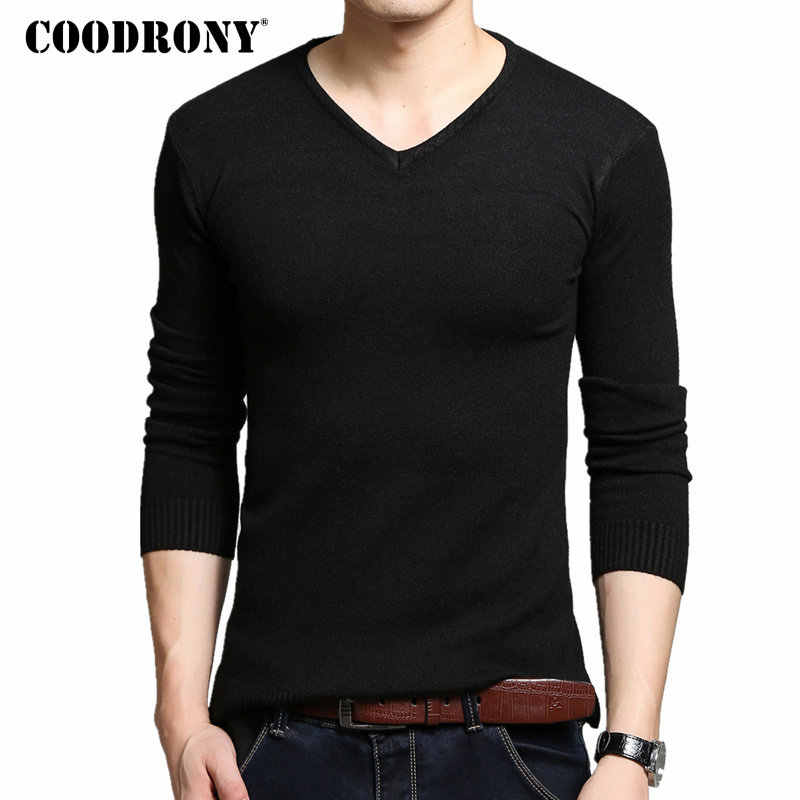 COODRONY Autumn Winter Thick Warm Cashmere Wool Sweater Men Solid Color V-Neck Knitted Pullover Men Slim Fit Pull Homme Top 6645