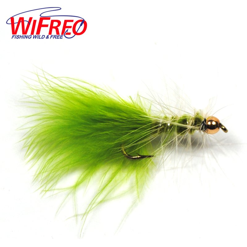 6PCS Chartreuse Green Brass Bead Head Streamer Fly for Trout Fly Fishing 12pcs 14 red tail bead head buzzer nymph fly for trout fishing lures