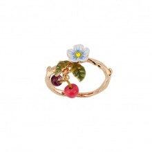 새로운 도착 나열 에나멜 유약 작은 신선한 꽃 체리 가을 골드 반지 보석 여성 선물