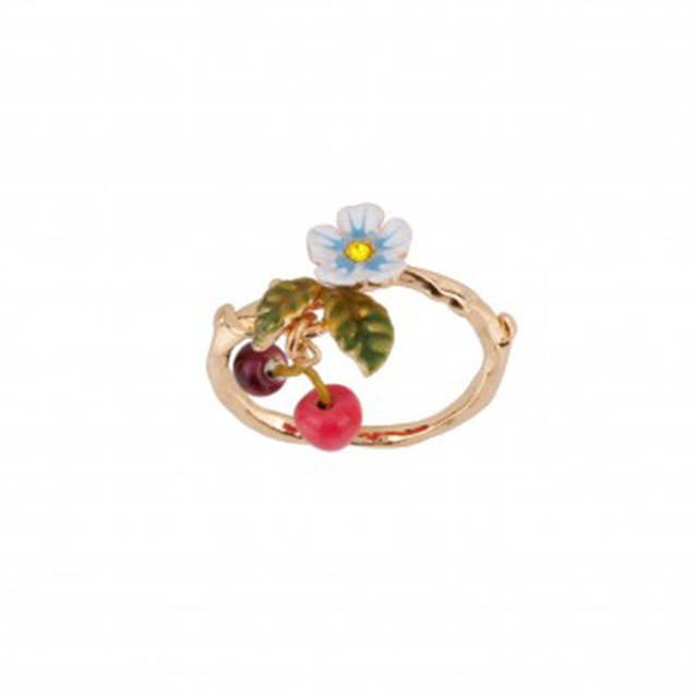 New Arrivals Be Listed Enamel Glaze Small Fresh Flower Cherry Fall Gold Ring Jewelry For Women Gift