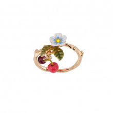 New Arrivals Be Listed Enamel Glaze Small Fresh Flower Cherry Fall Gold plated Ring Batch Mixing Ring