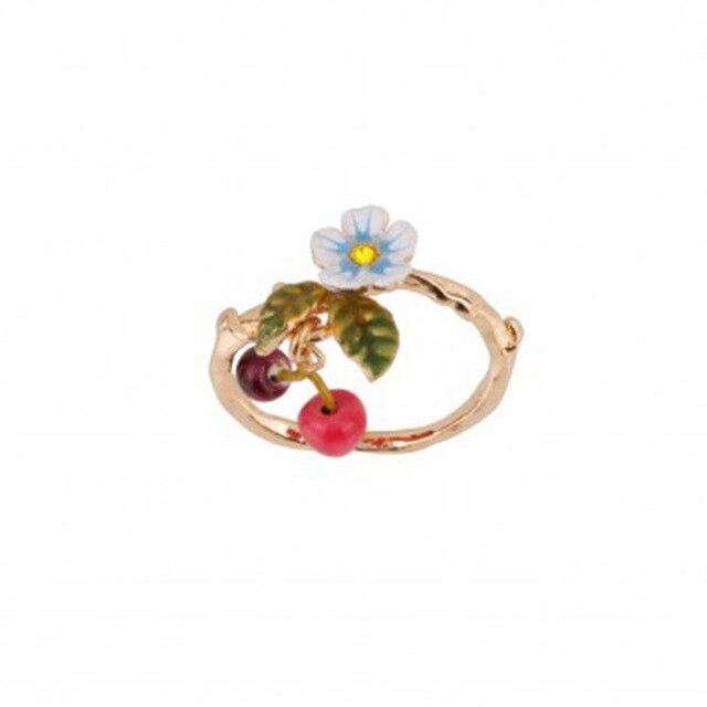 Nova chegada ser listado esmalte pequeno fresco flor cereja queda anel de ouro jóias para presente feminino