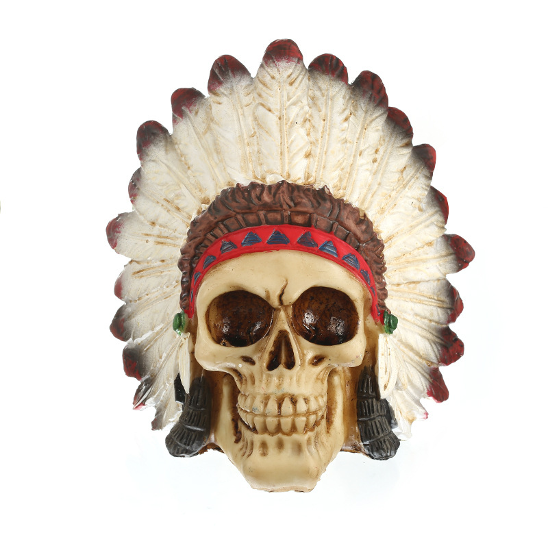 European Feather Skull Personalized Figurines Resin Skull Craft Office Study Halloween Decorations Spoof Friends Gift Home Decor