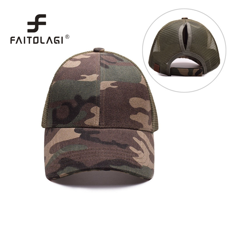 Ponytail Baseball Cap Women Messy Bun Baseball Hat Camouflage Mesh Cap Spring and Summer Camo Outdoor Hat