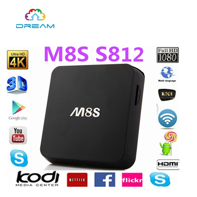 1pcs M8s Android 4.4 TV Box Amlogic S812 Quad Core GPU Mali450 2 GB / 8 GB Media Player 2.4 G / 5 G WiFi HDMI original m8s android tv box amlogic s812 quad core gpu mali450 2g 8g kodi xbmc media player 2 4g 5g wifi with air mouse keyboard