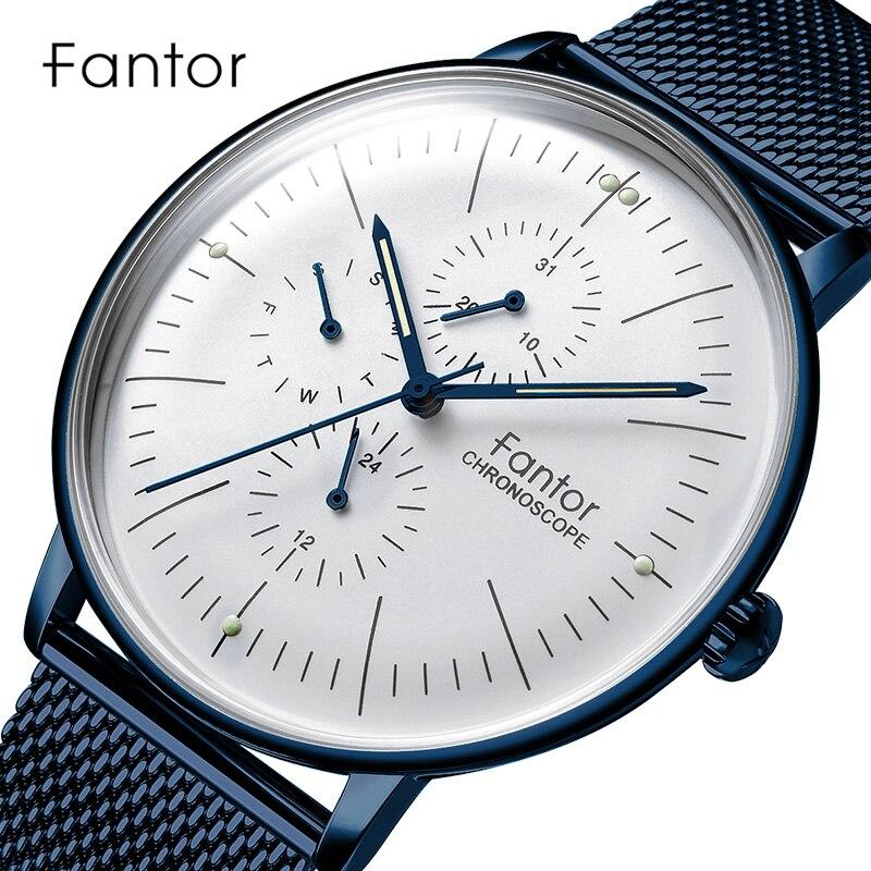 Fantor Men's Watch Men Luxury Brand Chronograph Mesh Steel Quartz Wristwatch Man 2019 Business Casual Waterproof Male Clock