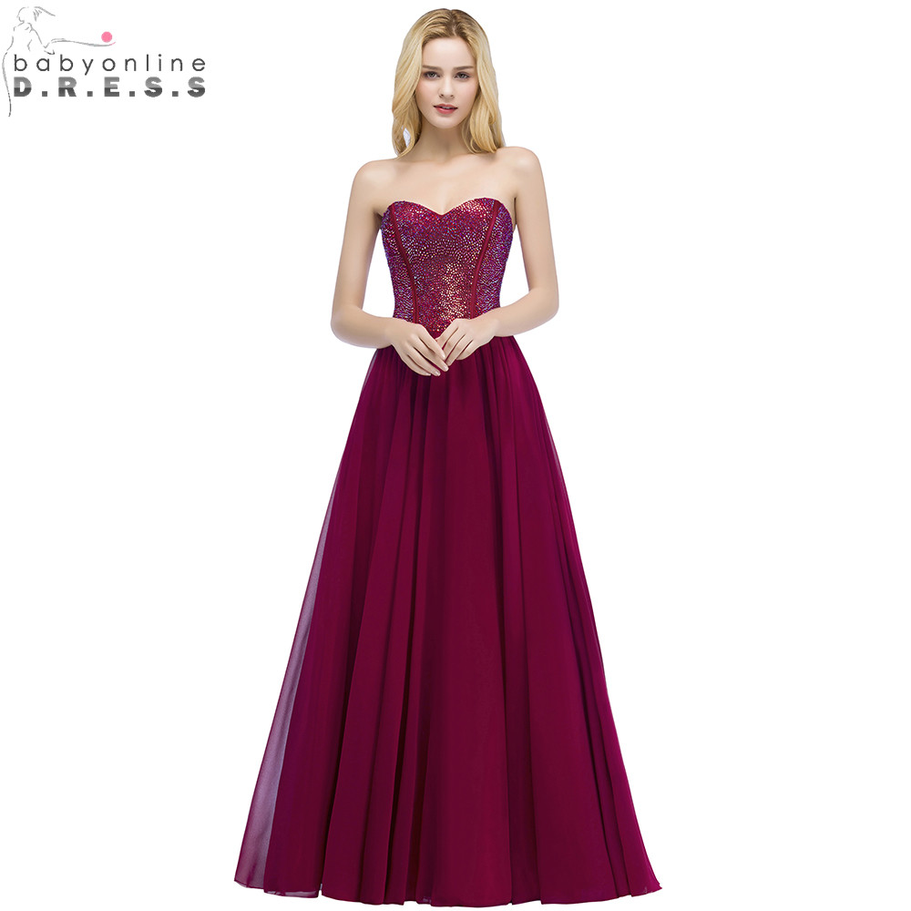 Sexy Backless Burgundy Long   Prom     Dresses   with Colorful Beadings Crystals Charming Sweetheart Neck Chiffon Evening Party   Dresses