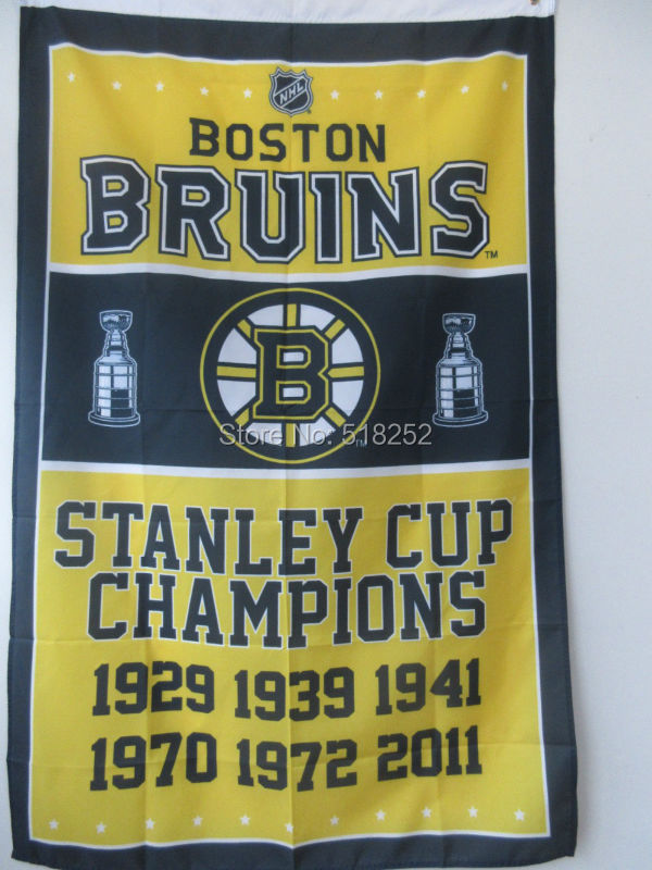 BOSTON BRUINS STANLEY CUP CHAMPIONS NHL Flag 3x5 FT
