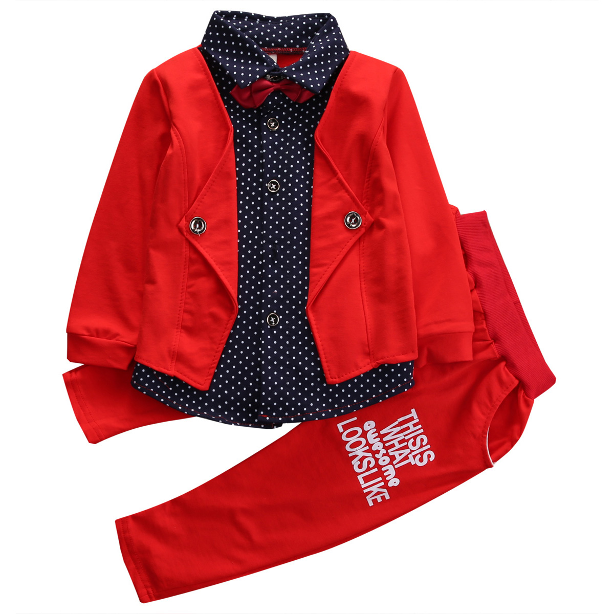 Spring/Autumn Kids Baby Boy Long Sleeve faux two piece Bowtie Shirt Tops+Pants 2pcs Outfits Clothing Set Hot