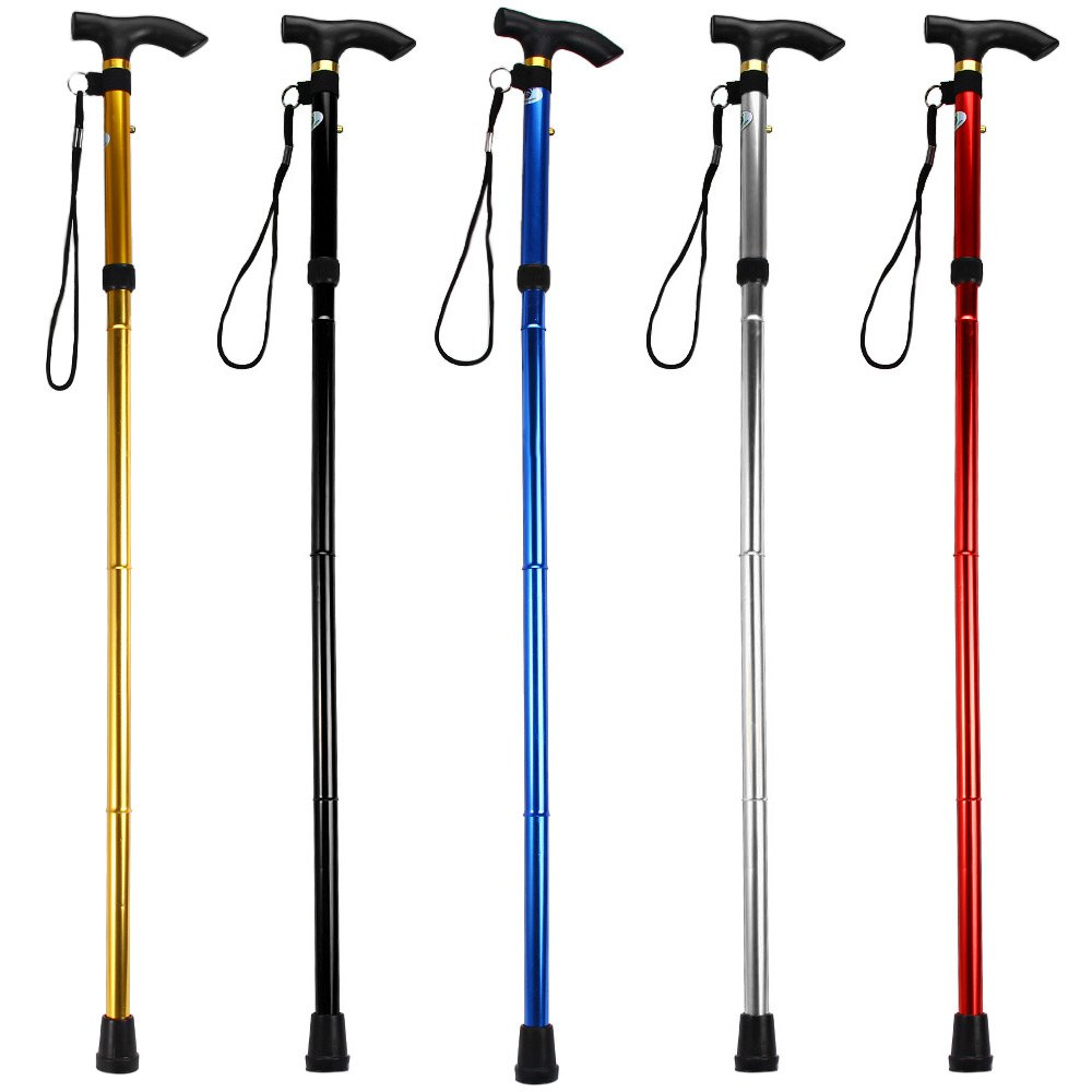 5 Colors Walking Stick Adjustable 4 Section Aluminum Alloy