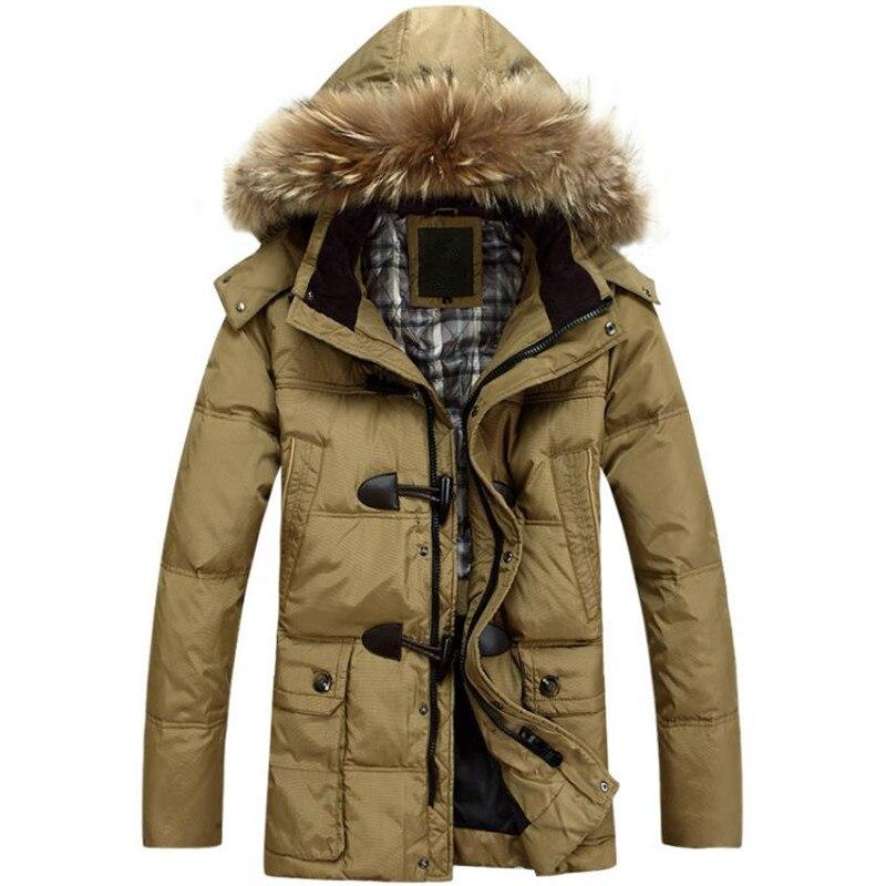 Winter high - end men 's cotton jacket white duck down jacket men' s coat long hooded warm Windproof Removable fur collar fur contrast color men s cotton coat with hat