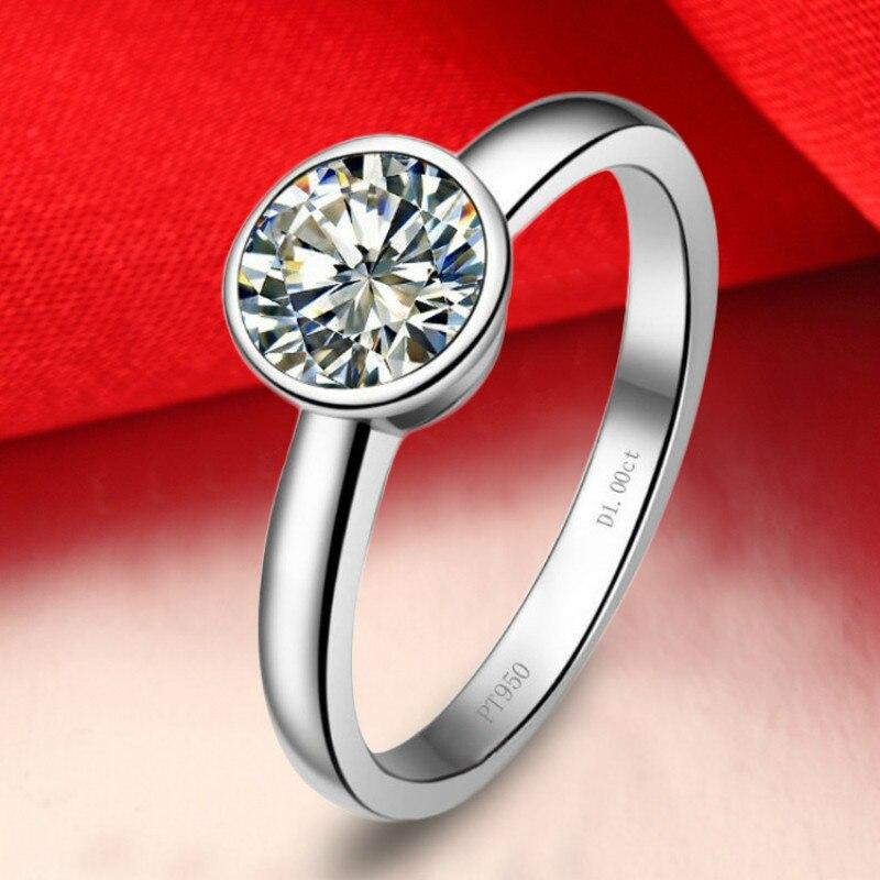 Simple classique 1 Carat AAAAA haute qualité Zircon cubique anneaux pour les femmes argent pur bagues de fiançailles bijoux de célébration de mariage