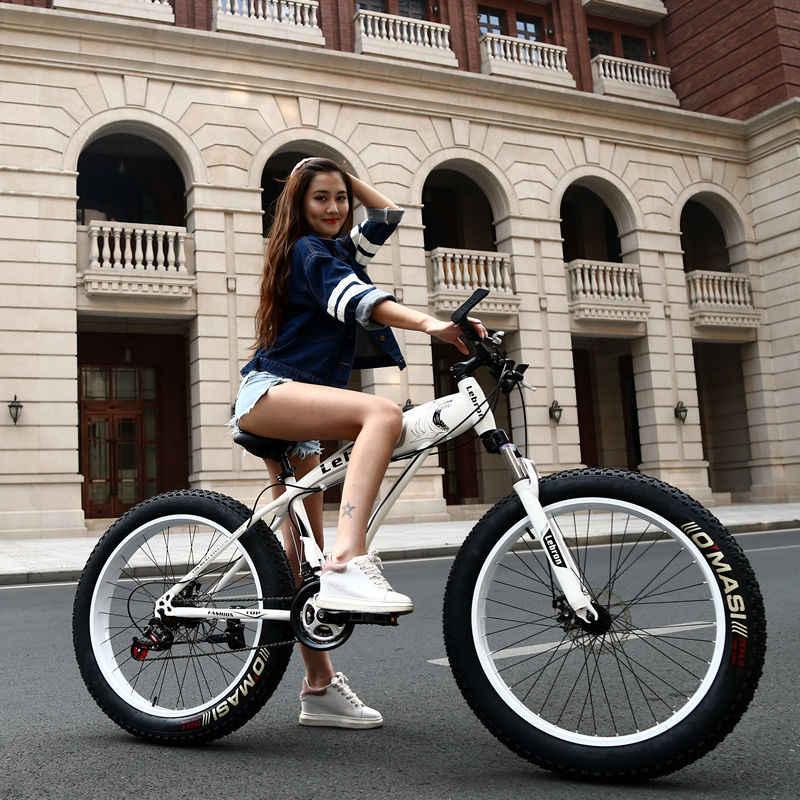 """Высокое качество 7/21/24/27 скорость 26 дюймовая Толстая велосипедная стальная рама Снег велосипед 4,0 """"большой широкая шина горный велосипед"""