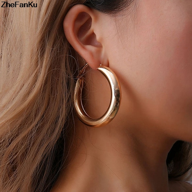 ad0d5bc27 50 MM Big Gold Hoops Earrings Minimalist Thick Tube Round Circle Rings  Earrings For Women Zinc