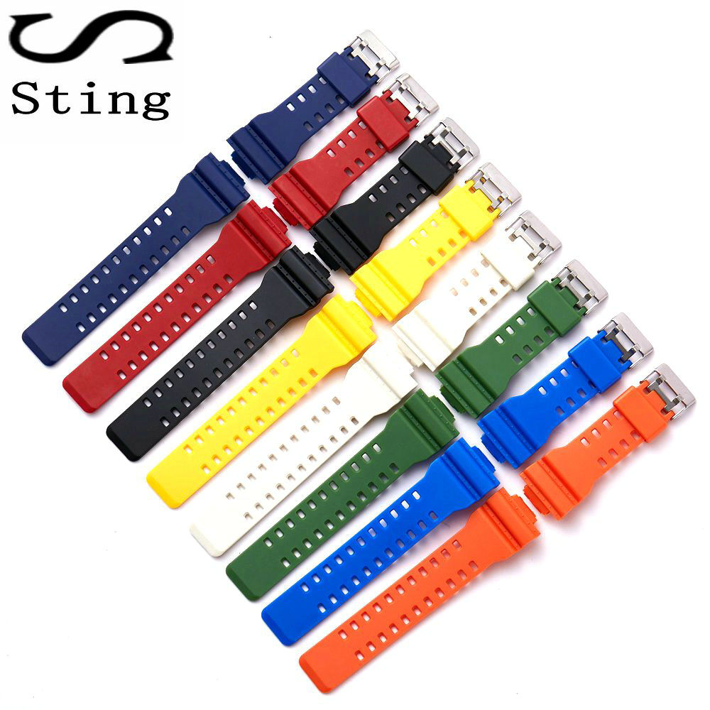 Sting Strap High Quality 16MM Watch Band Strap for GA-100 GA-100 GA-120 GA-120 GD-100 GD-120 GA-100C Replacement Waterproof the latest rubber 16mm strap strap apply to for casio ga 100 ga 100 ga 120 ga 120 gd 100 gd 120 ga 100c watch accessories