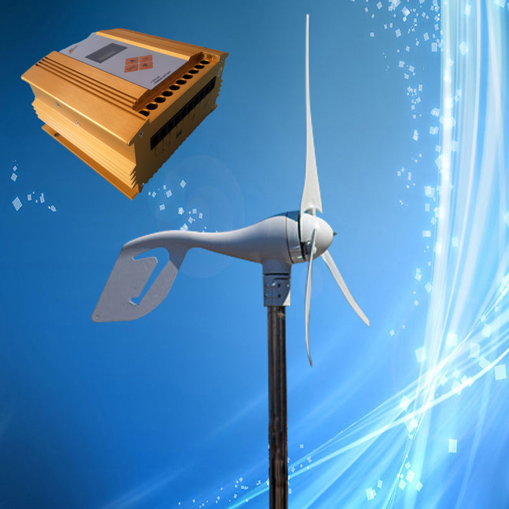 400W Mini Wind Generator Wind Turbine with 3PCS 5PCS Blades MPPT Wind Solar Hybrid Controller Max