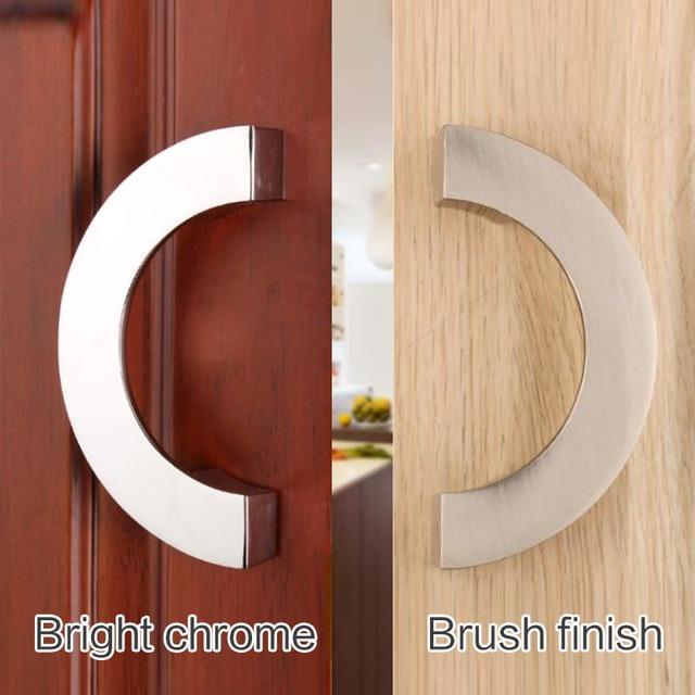 Semi-circular drawer and cabinet furniture hidden Recessed Flush Pull Nckel handle sliding hinged door knob