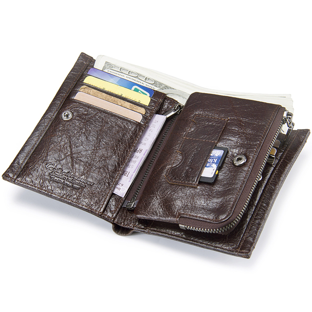 2019 New Design Brand Men Wallets 100% Genuine Leather Purse with Credit Card Holder Male Wallet Zipper Coin Pocket Photo Holder 3