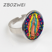ZBOZWEI 2018 Our Lady of Guadalupe Virgin Mary Sacred Heart Religious Stained Glass Bezel Art Ring zbozwei 2018 st anthony of padua saint ring st anthony jewelry cabochon religious religious gift ring