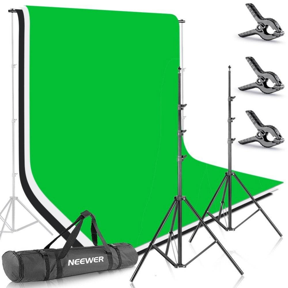 Neewer 8.5ft X 10ft/2.6 M X 3 M système de Support de Support de fond avec 6ft X 9ft/1.8 M X 2.8 M toile de fond (blanc, noir, vert) pour Portrait