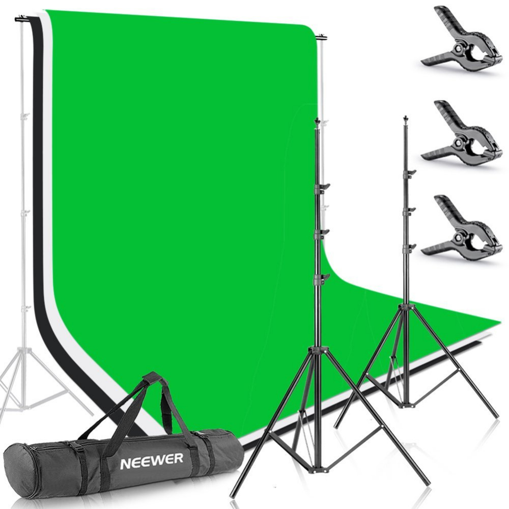 Neewer 8.5ft X 10ft/2,6 mt X 3 mt Hintergrund Stehen Unterstützung System mit 6ft X 9ft/1,8 mt X 2,8 mt Hintergrund (Weiß, schwarz, Grün) für Porträt