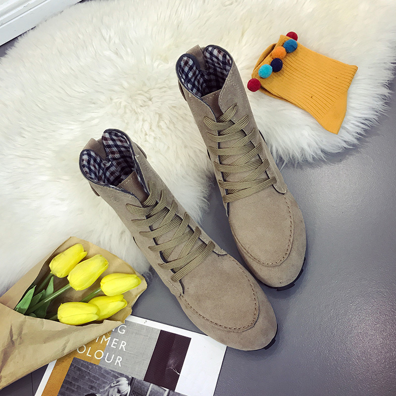 2018 Fashion Spring Autumn Women Boots Lace Up Ankle Flat With Women Casual Shoes Flock Light Boots Big Size 41 42 Black Red pinsen fashion women shoes summer breathable lace up casual shoes big size 35 42 light comfort light weight air mesh women flats