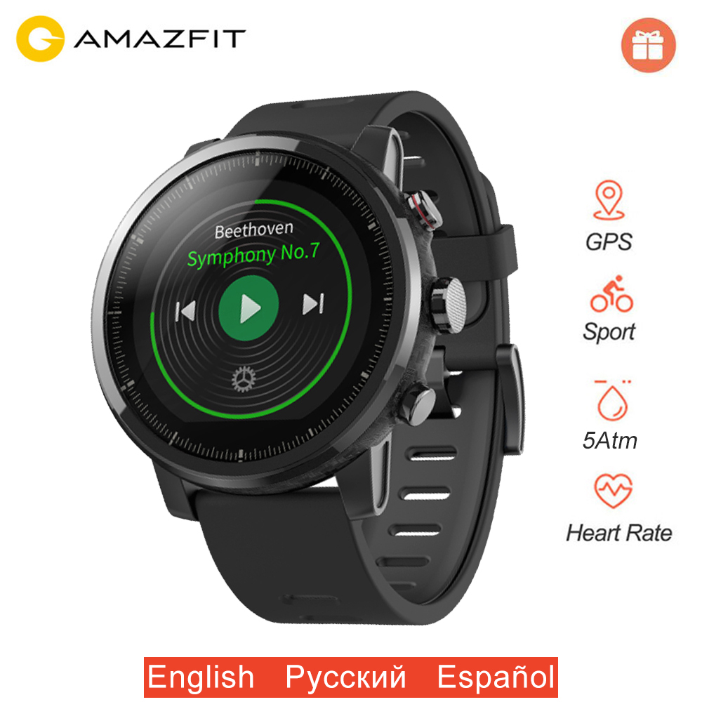 Original Huami Amazfit Stratos 2 Smart Watch Men GPS Sports Smartwatch 5ATM Waterproof PPG Heart Rate Monitor Global Version