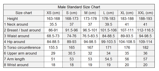 Male Shirt Size Chart a