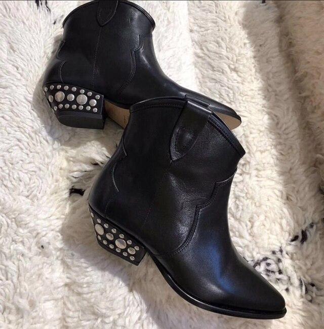 Damen Stiefeletten As Schuhe Botines Niedrige Stiefel Mujer Heels Quadratische Spitz Schwarz Für Picture 2019 Nieten Cowboy Frau Kurze EEx4gqwv