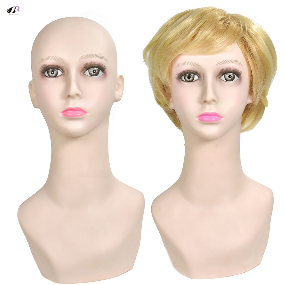 Free shipping soft pvc wigs stand heads mannequin training Head with shoulder wig earphone display heads
