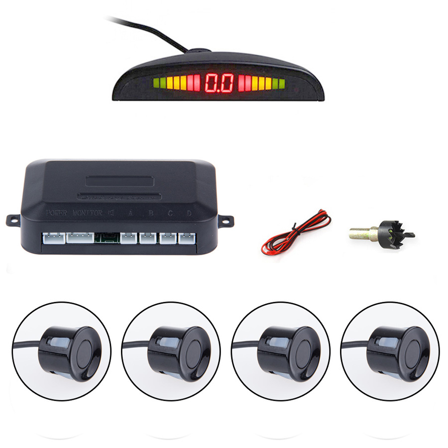 Car Auto Parktronic LED Parking Sensor With 4 Sensors Reverse Backup Car Parking Radar font b