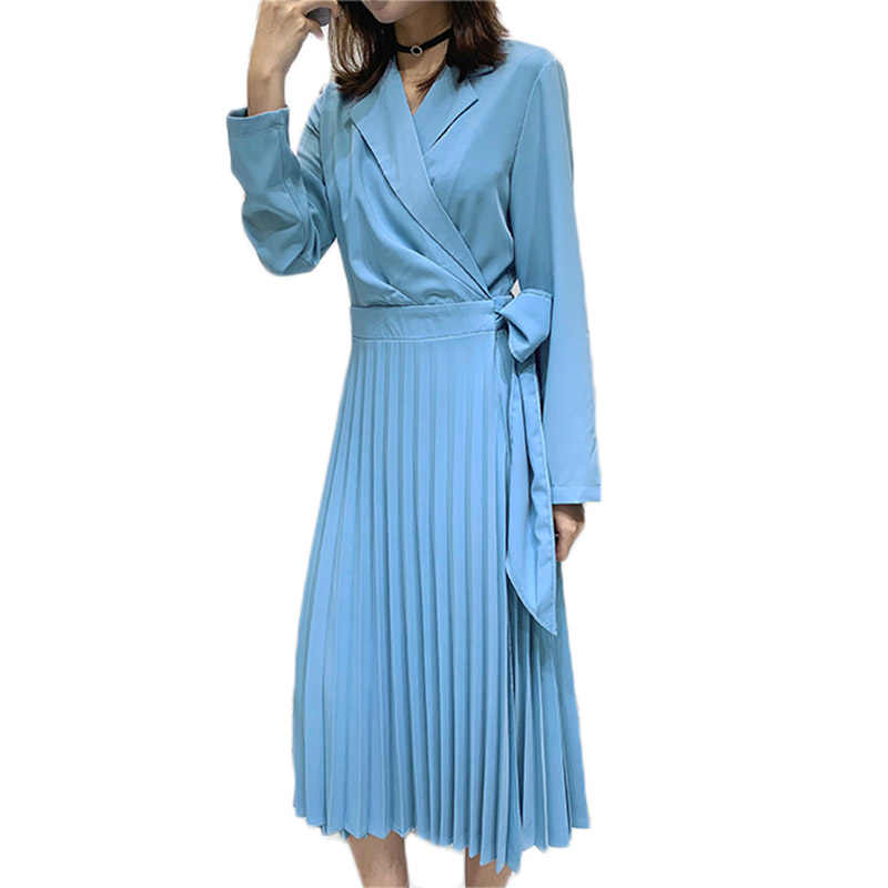 Korean Suit Collar Ladies Chiffon Patchwork Dress 2019 Spring New Long Sleeve Fashion Bow Runway Pleated Dress Vestido Robe f676