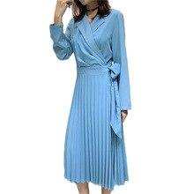 Korean Suit Collar Ladies Chiffon Patchwork Dress 2019 Spring New Long Sleeve Fashion Bow Runway Ple